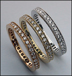 3 Piece Diamond Eternity Band Set, 18kt White, Pink, Yellow