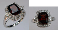 14kt Garnet Ring with White Sapphires