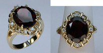 Garnet Ring set in Yellow Gold with Diamonds