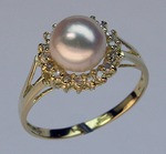 Cultured Pearl Ring with Round Diamonds