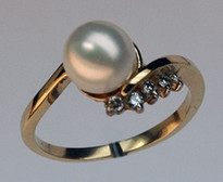 Cultured Pearl Ring with Diamond Accents