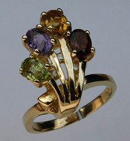 14kt Gold Semi Precious Multi Colored Ring