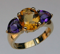 Multi Colorerd 3 Stone Ring