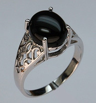 Black Onyx Solitaire Ring