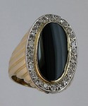 Onyx Ring with Diamonds (Ladies) 510MLCOB