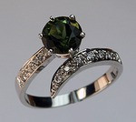Green Tourmaline Ring with Diamonds 54ULT