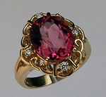 Pink Tourmaline Ring set in 14kt Yellow Gold