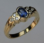 Tanzanite and Diamond Gold Band
