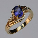 Yellow Gold Tanzanite and Diamond Ring