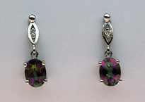 Mystic Topaz Gold Earrings with Diamonds