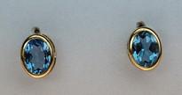 14kt Gold Blue Topaz Earring 017ML