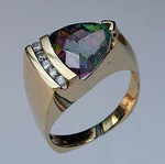 14kt Gold Mystic Topaz Ring with Diamonds EGR378