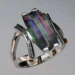 14kt Gold Mystic Topaz Ring with Diamonds 61EGR