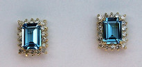14kt Gold Blue Topaz Earring with Diamonds 05045E