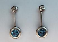 14kt Gold Blue Topaz Earrings with Diamonds