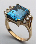 14kt Gold Blue Topaz and Diamond Ring R414