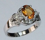 14kt Gold Citrine and Diamond Ring R324