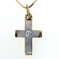 14kt Two Tone GVS2 Diamond Cross, 6.7 grams of gold