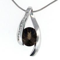 14kt White Gold Smokey Topaz Diamond Pendant