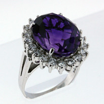 11.70ct Amethyst Diamond Ring