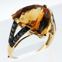 14kt Gold Citrine and Diamond Ring 1Y35ML