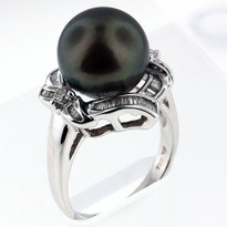 12.5mm Black South Sea Pearl Ring White Gold