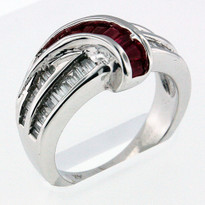 .35ct Ruby Ring in 14k White Gold
