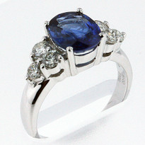 2.20ct Sapphire Ring with .50ct Diamonds in White Gold