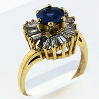 .88ct Sapphire Ring with .96ct Diamonds in Yellow Gold