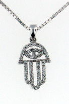14kt White Gold Jewish Diamond Hamsa