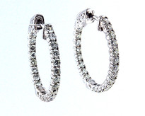 14kt White Gold Diamond Hoop Earrings(48JJ)