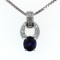.96ct  Sapphire Pendant in 18kt White Gold