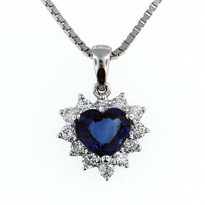 1.14ct  Sapphire Pendant in 18kt White Gold