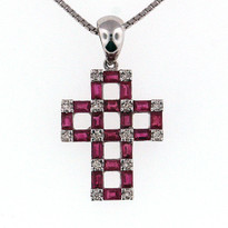 .11ct Diamond Cross Pendant with ruby stone 1.51ct