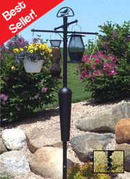 Squirrel Stopper Deluxe Bird Feeder Pole and Baffle Black  Squirrel Proof Bird Feeder Pole