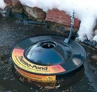 Uses only 100 watts. K&H Floating Pond De-icer KH 8001 Thermo Pond Koi Pond De-icer 100 watt  The World-¼s only energy efficient pond heater! Thermo-Pond is a unique patented pond heater that keeps a hole through the ice in backyard ponds for just pennies a day. In fact, Thermo-Pond can save up to $30.00 a month in electricity! The Thermo-Pond pays for itself in as little as 2 months.Thermo-Pond floats on top of the water and is thermostatically controlled to never get hot. Unlike some other heaters, Thermo-Pond will never burn a pond liner or plastic pond. It naturally allows the pond to ice over while maintaining a hole through the ice. The hole in the top of the Thermo-Pond helps allow toxic gasses to escape all winter long. Allowing that gas exchange can help keep a healthier environment during the winter months Thermo-Pond should be used in ponds that are deep enough to allow plenty of livable water under the iced portion of the pond. Thermo-Pond has been tested in the Northwoods of Wisconsin at temperatures dipping down past 30 below Zero Fahrenheit. UL and CUL listed. The world's most successful and efficient low-wattage pond de-icer. Uses only 100 Watts Maintains a hole in backyard pond ice for just pennies a day. Floats on top of the water. Thermostatically controlled never to get hot. Completely safe when used with a pond liner or plastic pre formed pond. Fish friendly - assists the escape of toxic gases all winter long to help maintain a toxic-free environment for fish living under the ice. Tested in northern Wisconsin at temperatures of 30-¬ below zero Fahrenheit. MET Listed  Thermo Pond floats on top of the water and is thermostatically controlled to never get hot. Unlike some other heaters, ThermoGª+Pond will never burn a pond liner or plastic pond. It naturally allows the pond to ice over while maintaining a hole through the ice.  Allowing that gas exchange can help keep a healthier environment during the winter months ThermoGª+Pond should be used in 