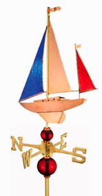 Full Size Stained Glass Yawl Weathervane