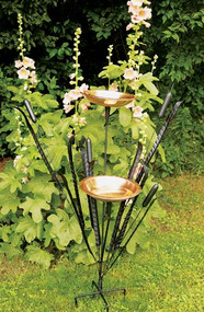 "Achla 50"" High Double Cattail Bird Bath With Two 12"" Bowls"
