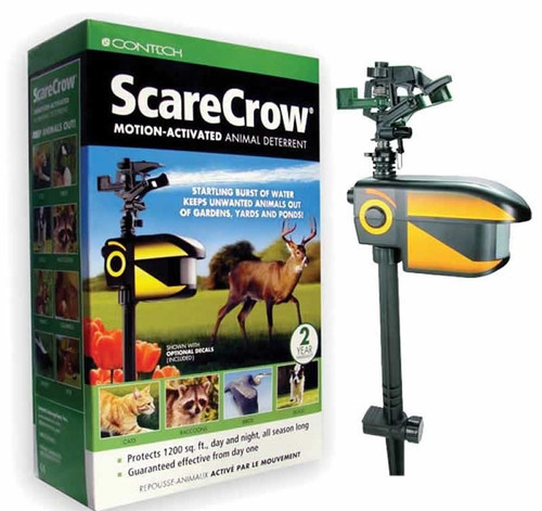 Contech Scarecrow Motion Activated Animal Deterrent Sprinkler CRO 102       The original motion activiated deterrent, still the best-rated and now in the Ortho® line-up!     Protects gardens, landscaped areas and yards from deer, rabbits, birds and other animal intruders     Startles pests with sound and startling-but-harmless burst of water, teaching to avoid protected area in the future     Protects 1,200 sq. ft. day and night, all season long     Powered by a single 9-volt battery for up to 6 months.  Tired of battling deer, cats, raccoons, squirrels and rabbits? Stop animals from invading gardens and ponds with ScareCrow® Motion-Activated Animal Deterrent. Guaranteed effective from day one, this smart ScareCrow® uses a startling, yet harmless, blast of water to keep deer and other destructive animals at bay. Plus, the custom motion sensor lens increases detection range for smaller animals, like cats and raccoons. The original motion-activated deterrent protects day and night, all season long.