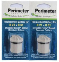 2 Pack Perimeter Invisible Fence Replacement Battery R21 R22  and R51  Compatible Dog Collar Batteries