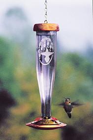 Schrodt Etched Amethyst Hummingbird Feeder