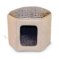 K&H Pet Products Thermo Kitty Clubhouse Tan / Leopard Heated  KH3893