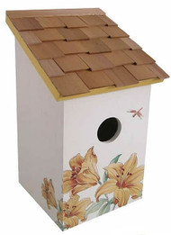 Home Bazaar Printed Saltbox Lily Bird House
