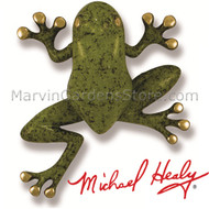 Michael Healy Tree Frog Door Knocker in Brass & Bright Green Patina MH1405