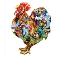 SunsOut Puzzle Barnyard Strut Rooster Shape