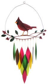 Blue Handworks Cardinal on Branch Wind Chime