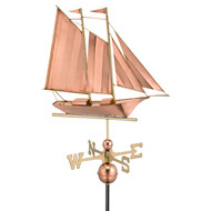 Good Directions Schooner Weathervane - Polished Copper 9601P