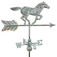Good Directions Horse Garden Weathervane - Blue Verde Copper w/Roof Mount  801V1R