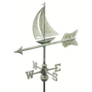 Good Directions Sailboat Garden Weathervane - Blue Verde Copper w/Roof Mount  8803V1R