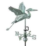 Good Directions Blue Heron Garden Weathervane - Blue Verde Copper w/Roof Mount  8805V1R